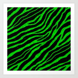 Ripped SpaceTime Stripes - Green Art Print