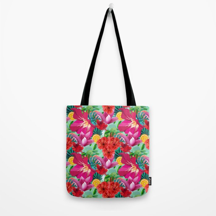 Tropical Summer Flower And Fruit Pattern Tote Bag