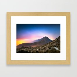 Fantasy mountainscape at night with starry sky in Hong Kong Framed Art Print