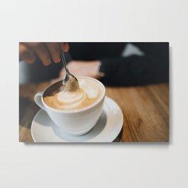 Stirring a Foamy Cappuccino Metal Print