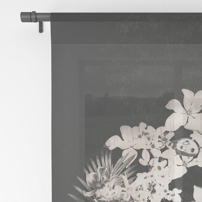 Spring Skull Monochrome Sheer Curtain