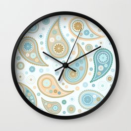 Paisley Funky Design Blues Creams & Caramels Wall Clock