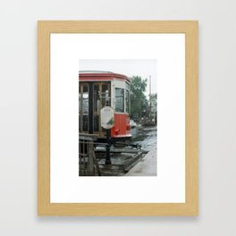 Train in z rain Framed Art Print