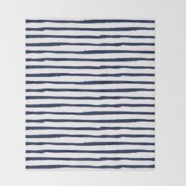 Navy Blue Stripes on White Throw Blanket