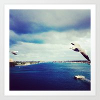 Seagulls Over the Ocean Art Print