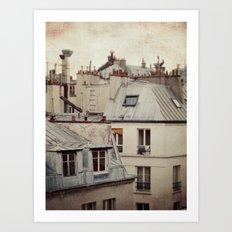 Paris roofs Art Print