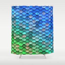 Aqua Teal & Green Shiny Mermaid Glitter Scales Shower Curtain