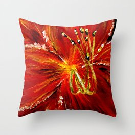 Red and Red Orange Daylily Throw Pillow