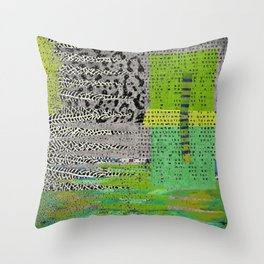 Jagged Grey Green Abstract Art Collage Throw Pillow