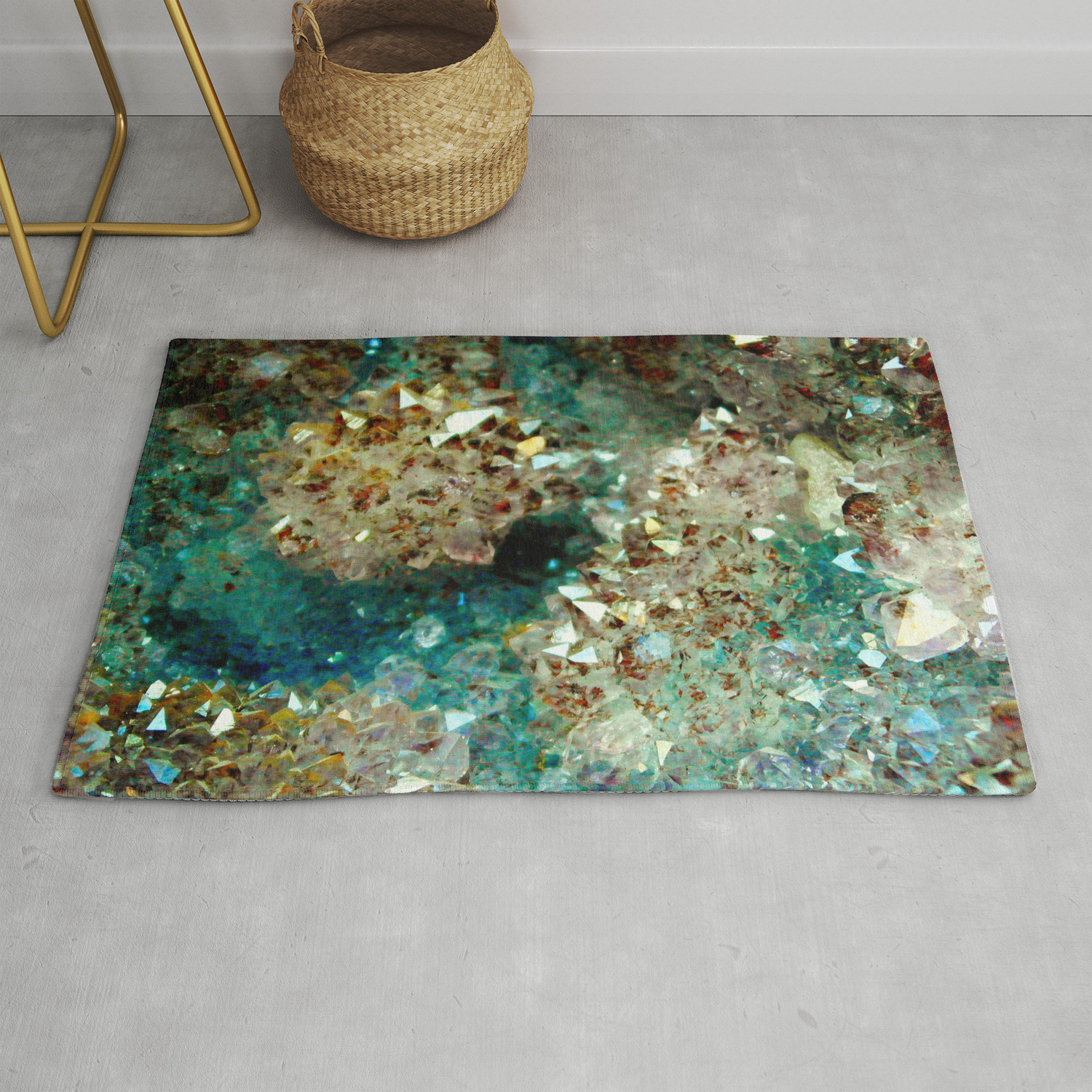Sparkling Gold And Turquoise Crystal Rug By Thehornitoscompany Society6
