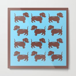Brown Dachshund with Blue Bow Pattern Art Metal Print