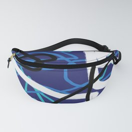 Blue, Black & White Abstract Digital Painting Fanny Pack