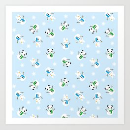 Snow Bunnies & Snow Pandas Art Print