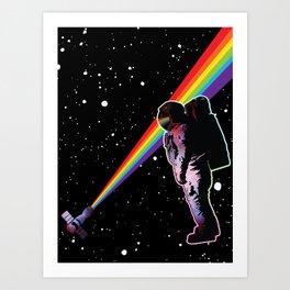 Rainbow Astronaut in Space  Art Print