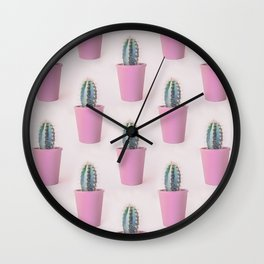 Single Cactus Pot in soft pastel Colors Wall Clock