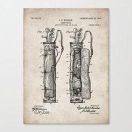 Golf Bag Patent - Caddy Art - Antique Canvas Print