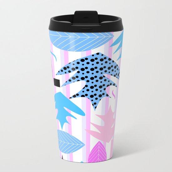 Leaf mix in pink and blue Metal Travel Mug