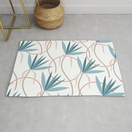 Modern Minimalist Tropical Jungle Flowers in Teal Blue Red Beige Rug