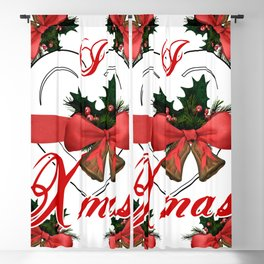 i love xmas - heart with red ribbon and golden christmas bells Blackout Curtain