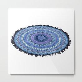 Tassel Fringe Roundie Mandala Beach Throw Bed Sheet  Metal Print
