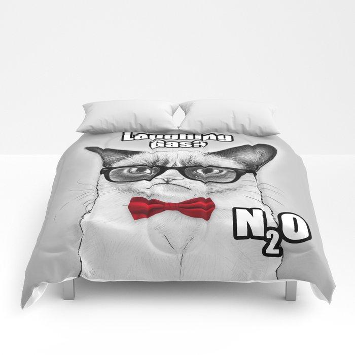 Grumpy Chemistry Cat Geek Science Meme Whimsical Animals in Glasses Comforters