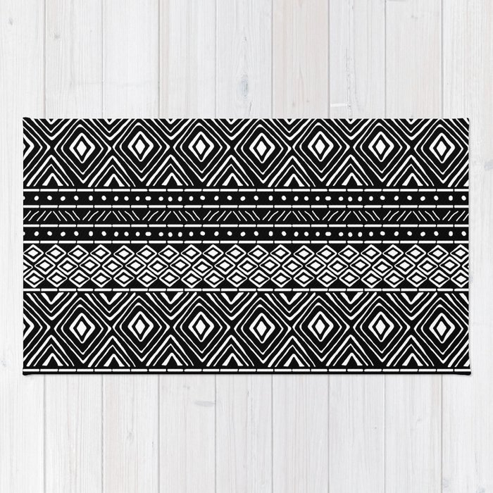 African Mud Cloth Black Rug