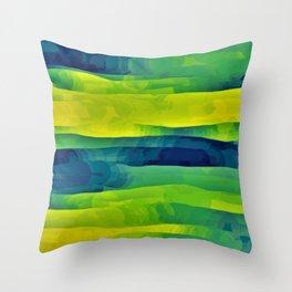 Acid Yellow and Indigo Abstract Throw Pillow