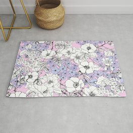 Hydrangea and rosehip pink and blue flowers Rug