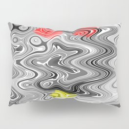 Absolute Abstract Grey Jiggle With Colour Splash Pillow Sham
