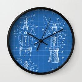 Cork Screw Patent - Wine Art - Blueprint Wall Clock