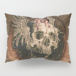 Awesome creepy skull with rat Pillow Sham