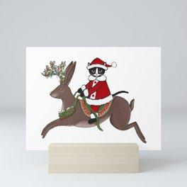 Santa Claws and Jackalope 2 Mini Art Print