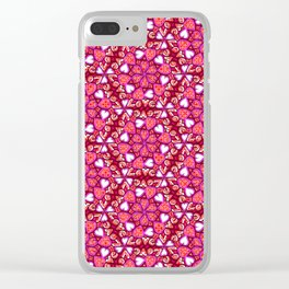 Love Hearts Doodle - Pink and Red Clear iPhone Case
