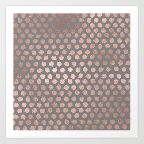 Handpainted Rosegold polkadots on grey background Art Print