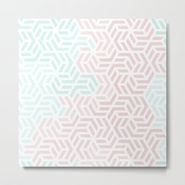 Pastel Deco Hexagon Pattern - Aqua and Pink #pastelvibes #pattern #deco Metal Print