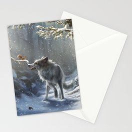Friends: Wolf & Squirrel in Winter Stationery Cards