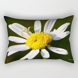 Tiny Daisy And Crab Spider Rectangular Pillow