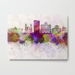 Phoenix skyline in watercolor background Metal Print
