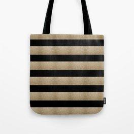 preppy contemporary minimalist great gatsby champagne black gold stripes Tote Bag