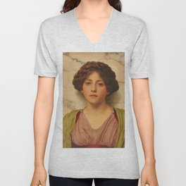 "John William Godward ""Untitled (Classical Beauty)"" Unisex V-Neck"