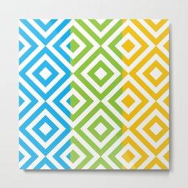 blue yellow green geometric pattern Metal Print