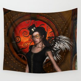 Wonderful steampunk lady with wings and hat Wall Tapestry