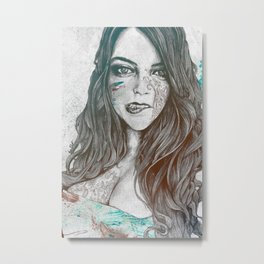 U-Turn: Rainbow (mandala tattooed woman, drawing portrait) Metal Print