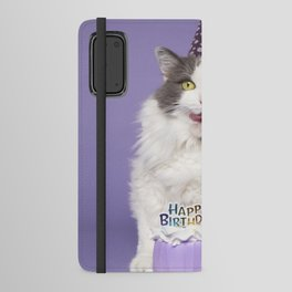 Happy Birthday Fat Cat In Party Hat With Cake Android Wallet Case