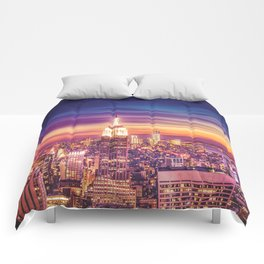 New York City Dusk Sunset Comforters