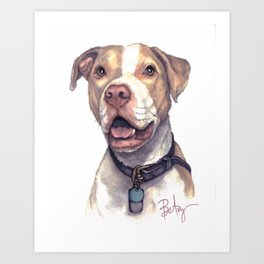 """LuThor Wallace: """"Red Nose"""" Rescue Pitbull Art Print"""
