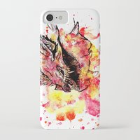smaug iPhone & iPod Cases featuring Watercolor Smaug by Trinity Bennett
