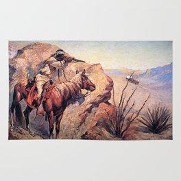 "Frederic Remington Western Art ""Apache Ambush"" Rug"
