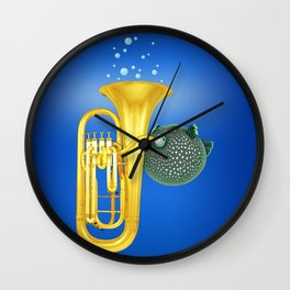 Puffer Fish Playing Tuba Wall Clock