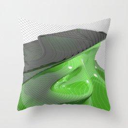 Waving green mathematical surface Throw Pillow